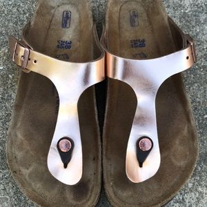 RESERVED Birkenstock Rose Gold Leather Gizeh SFB